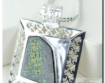 Filigree Setting! GENUINE Canadian AMMOLITE 925 Solid Sterling Silver Pendant + 4mm Snake Chain & FREE Worldwide Shipping P1593