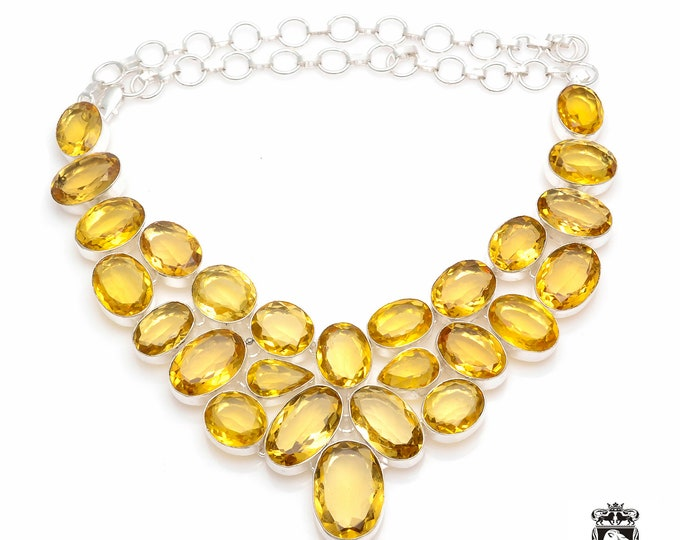 Partially IRRADIATED 327 cts Brazilian CITRINE 925 Sterling Silver + Copper Bonded Necklace & Worldwide Express Shipping N0048