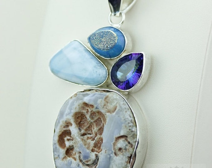 TABASCO GEODE LARIMAR Druzy 925 S0LID Sterling Silver Pendant + 4mm Snake Chain & Free Worldwide Shipping mp321