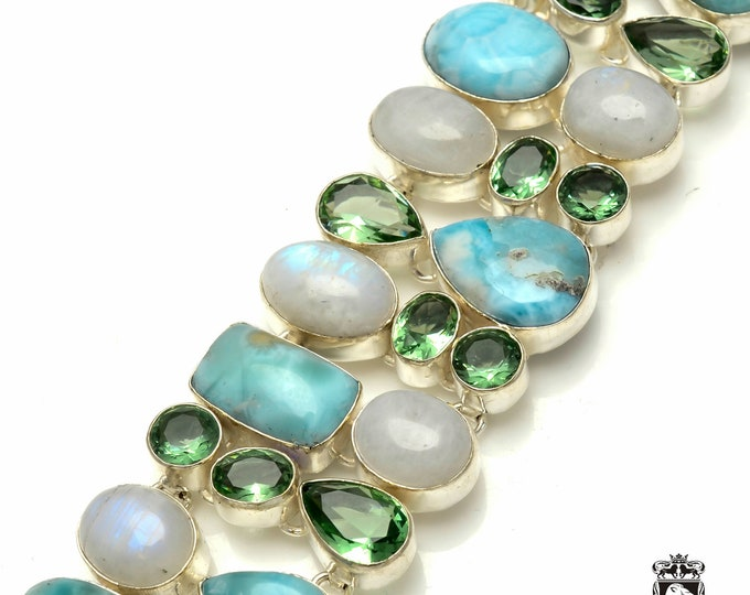 Caribbean LARIMAR Green Amethyst Moonstone 925 Sterling Silver + Copper Bonded Bracelet & Worldwide Express Tracked Shipping B3159