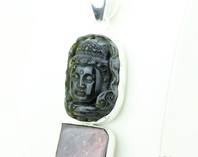 3.5 Inch OBSIDIAN BUDDHA GENUINE Canadian Ammolite 925 S0LID Sterling Silver Pendant + 4mm Snake Chain & Free Worldwide Express Shipping a40