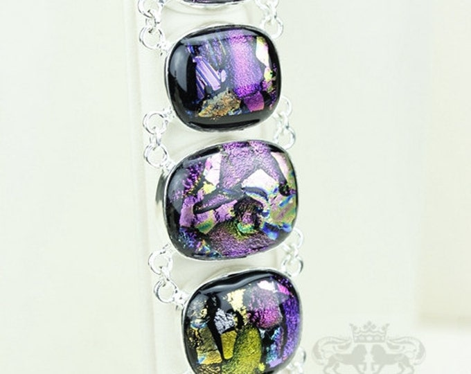 On SALE! Double Capped Dichroic Glass 925 S0LID Sterling Silver Bracelet & FREE Worldwide Express Shipping B1765