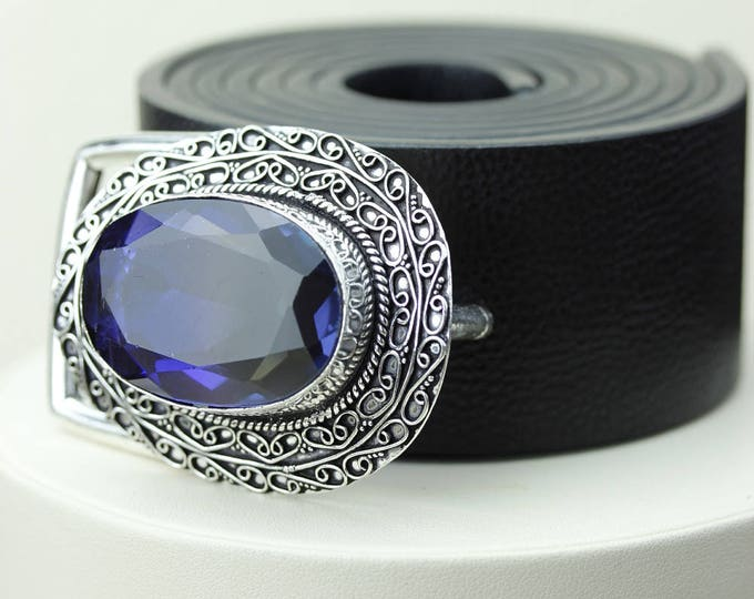 Large Size Oval sized TANZANITE QUARTZ Vintage Filigree Antique 925 Fine S0LID Sterling Silver + Copper BELT Buckle T58
