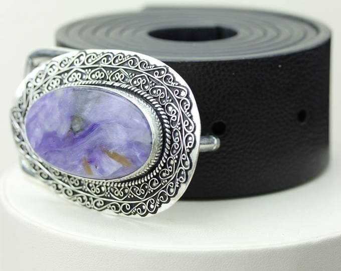 Russian CHAROITE Vintage Filigree Antique 925 Fine S0LID Sterling Silver + Copper BELT Buckle T67