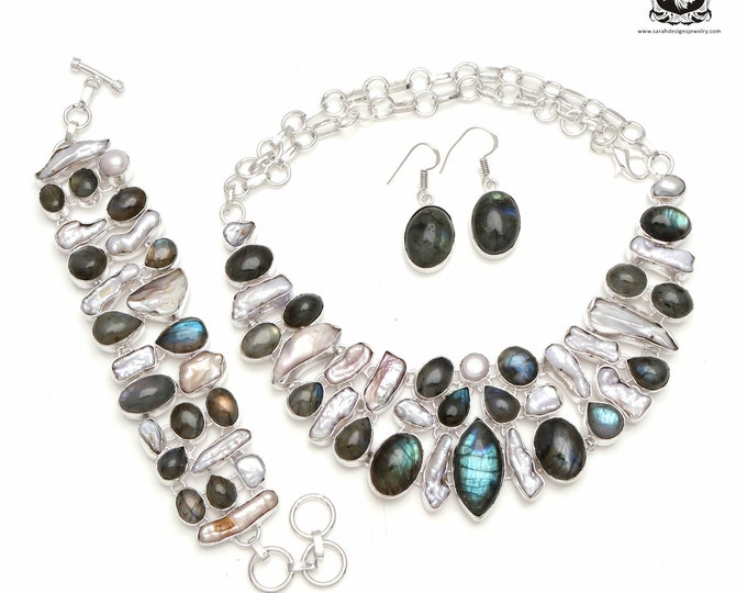 Keeping it Real! Canadian LABRADORITE Pearl 925 Sterling Silver + Copper Bonded Necklace Bracelet & Earrings ALL Included SET576