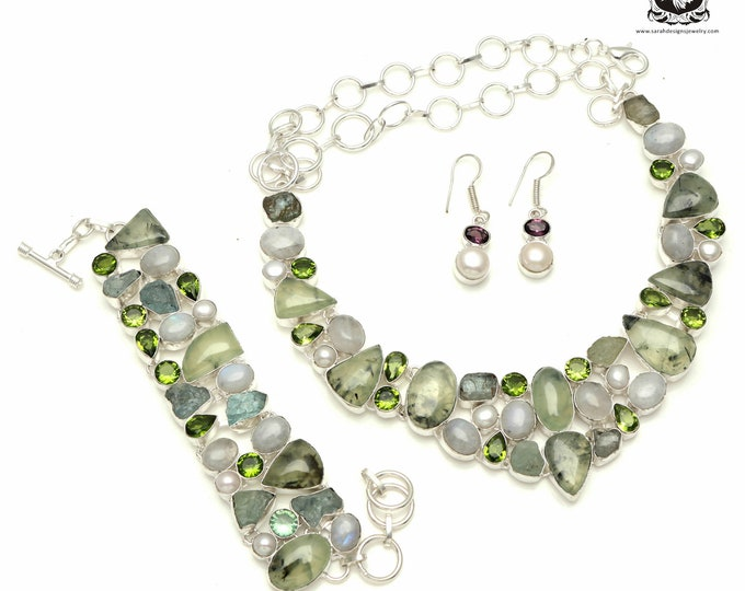 Divine Creation! Aquamarine Prehnite Moonstone Pearl 925 Sterling Silver + Copper Bonded Necklace Bracelet & Earrings ALL Included SET511