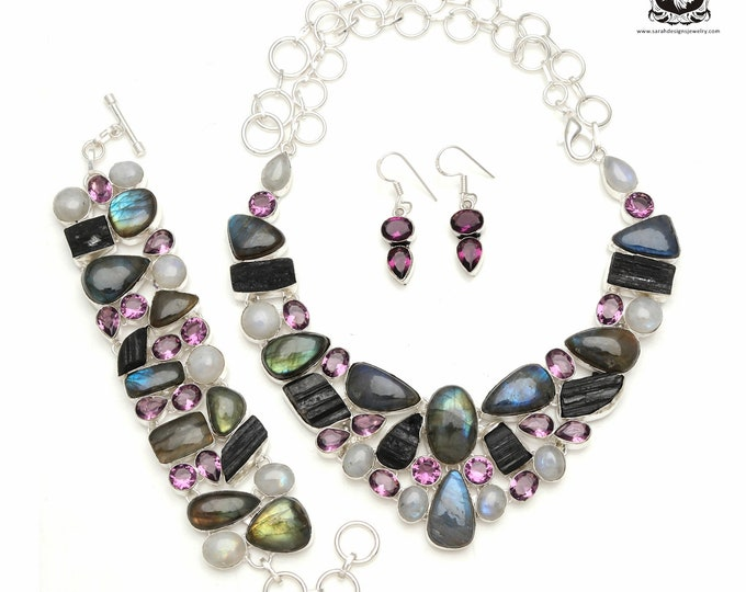 You definitely Need this! LABRADORITE 925 Sterling Silver + Copper Bonded Necklace Bracelet & Earrings ALL Included SET590