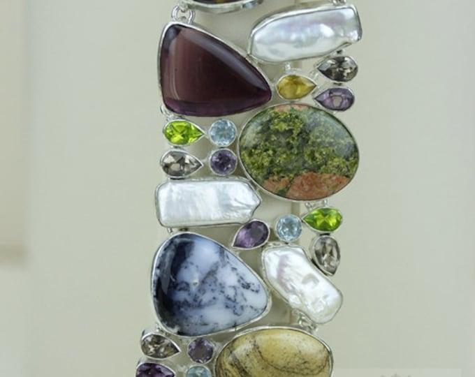 DENDRITIC AGATE Opal UNAKITE Pearl Amethyst 925 Solid Sterling Silver Bracelet + Free Worldwide Shipping b1333