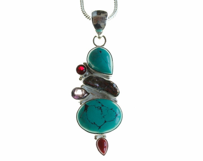 Turquoise Pearl Amethyst Garnet and Coral 925 Sterling Silver + BONDED Copper Pendant Chain & Worldwide Shipping p4485