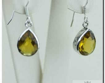 Tear Drop Shaped MADEIRA CHAMPAGNE CITRINE 925 Solid (Nickel Free) Sterling Silver Italian Made Dangle Earrings  E400