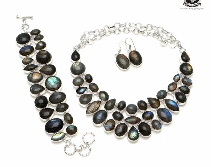 Don't Look Away! Canadian LABRADORITE 925 Sterling Silver + Copper Bonded Necklace Bracelet & Earrings ALL Included SET565