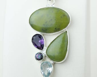 Serpentine Green Amethyst 925 S0LID Sterling Silver Pendant + 4MM Snake Chain p4170