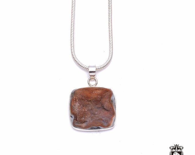 Agate GEODE Drusy Fine 925+ 975 S0LID Sterling Silver Pendant + Snake Chain P6291