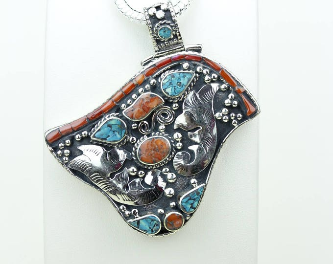 Fascinating Work of Art! Coral Turquoise Native Tribal Ethnic Vintage Nepal Tibetan Jewelry OXIDIZED Silver Pendant + Chain P3945