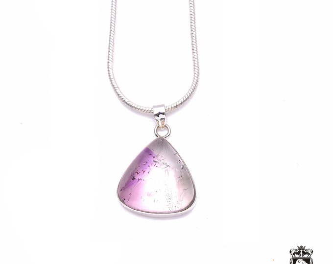 Polished Genuine AMETRINE Cabochon Fine 925+ 975 S0LID Sterling Silver Pendant + Snake Chain P6214