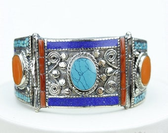 Looks Way Nicer in Person! Coral Turquoise Native Tribal Ethnic Jewellery Tibet Tibetan Nepal OXIDIZED Silver Bangle B2292