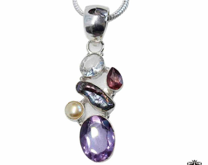 Amethyst Pearl Garnet Topaz 925 Sterling Silver + BONDED Copper Pendant Snake Chain & Worldwide Shipping p4840