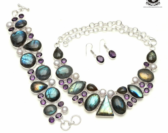 Make it Special! Canadian LABRADORITE Amethyst Pearl 925 Sterling Silver + Copper Bonded Necklace Bracelet & Earrings ALL Included SET549
