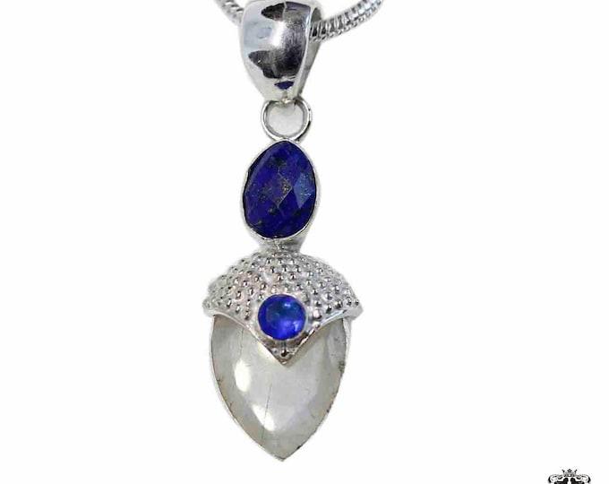 Tear Drop Moonstone Lapis lazuli Iolite 925 Sterling Silver + BONDED Copper Pendant Snake Chain & Worldwide Shipping p4839