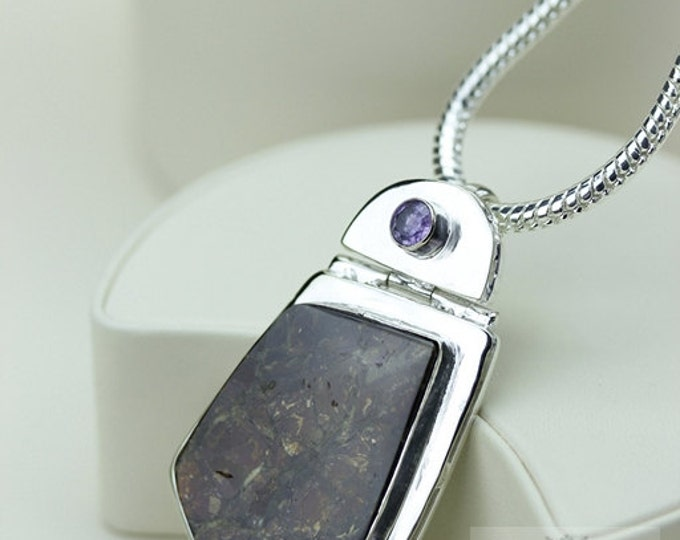Stunning!! GENUINE Canadian AMMOLITE 925 Solid Sterling Silver Pendant + 4mm Snake Chain & Worldwide Shipping P1577