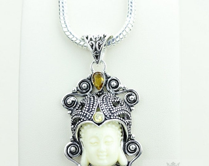 Grab and Go!Kwan Yin Guanyin BUDDHA Goddess Face Moon Face 925 S0LID Sterling Silver Pendant + 4MM Chain & Free Shipping p3801