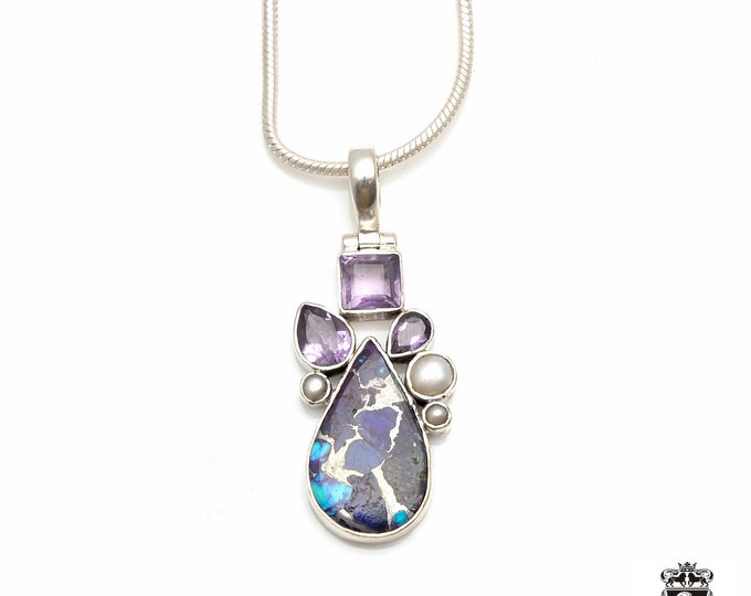 Purple PYRITE Turquoise Pearl Amethyst Fine 925+ 975 S0LID Sterling Silver Pendant + Snake Chain P6035