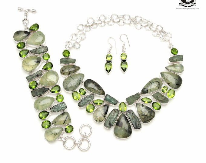 Mingle with the crowd! South African PREHNITE 925 Sterling Silver + Copper Bonded Necklace Bracelet & Earrings ALL Included SET582