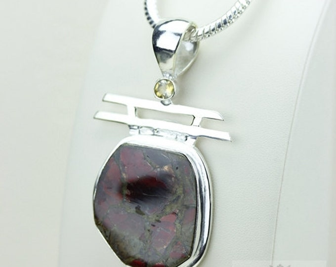 Reddish Hue! GENUINE Canadian AMMOLITE 925 Solid Sterling Silver Pendant + 4mm Snake Chain & FREE Worldwide Shipping P1599