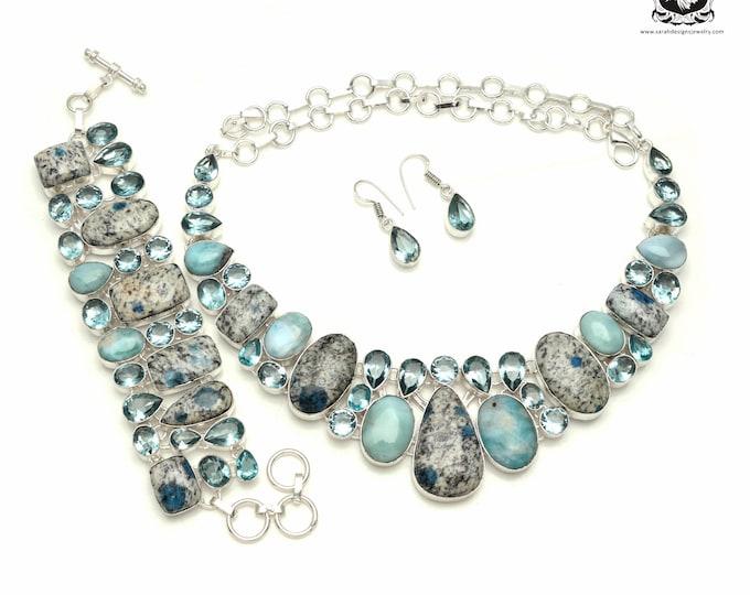 The Chill Factor! K2 jasper Larimar 925 Sterling Silver + Copper Bonded Necklace Bracelet & Earrings ALL Included SET561