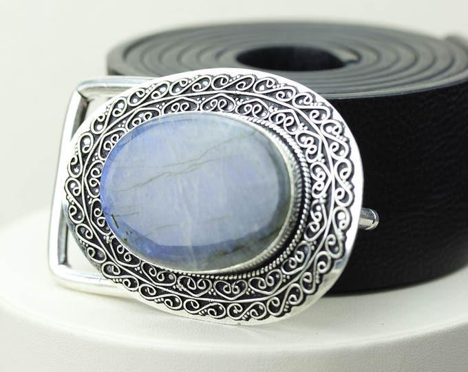 Astounding Quality! AAA Grade LABRADORITE Vintage Filigree Antique 925 Fine S0LID Sterling Silver + Copper BELT Buckle T16
