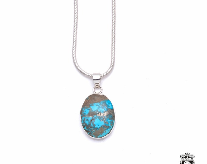 Pyritized KINGMAN Turquoise Fine 925+ 975 S0LID Sterling Silver Pendant + Snake Chain P6338