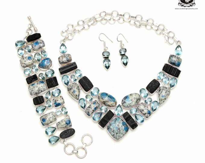 Good to Go! K2 Jasper Black Tourmaline Blue Topaz 925 Sterling Silver + Copper Bonded Necklace Bracelet & Earrings ALL Included SET591