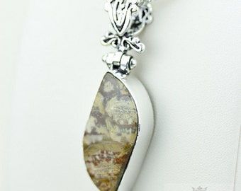 Mexican Birds Eye Jasper (Genuine) 925 S0LID Sterling Silver Pendant + 4MM Snake Chain p3552