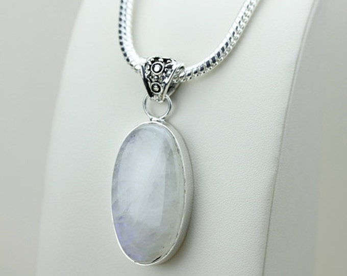 2.45 Inch Rainbow MOONSTONE 925 S0LID Sterling Silver Pendant + 4MM Snake Chain p3095
