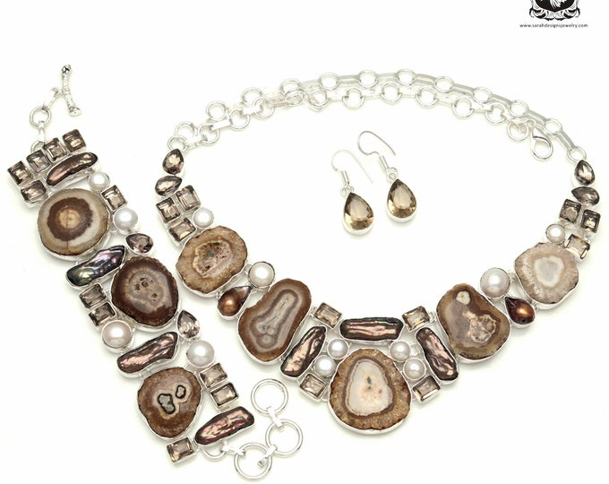 Free up that space in your Jewelry Cabinet! SMOKEY  SLATACTITE 925 Silver + Copper Bonded Necklace Bracelet & Earrings ALL Included SET533