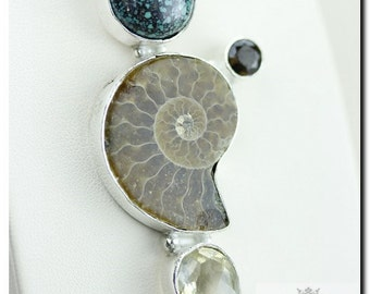 AMMONITE Fossil TIBETAN TURQUOISE Citrine 925 Solid Sterling Silver Pendant + Free Worldwide Shipping P1964