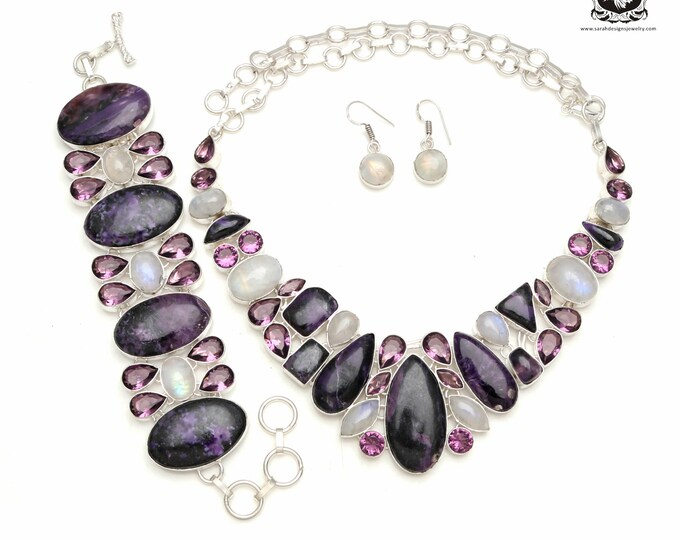 Purple Galore! Russian CHAROITE 925 Sterling Silver + Copper Bonded Necklace Bracelet & Earrings ALL Included SET531