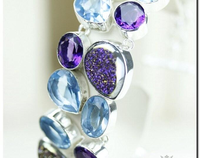 Shiny Shiny! TITANIUM WINDOW Drusy DRUZY Blue Topaz 925 Solid Sterling Silver Bracelet + Free Worldwide Shipping B1217