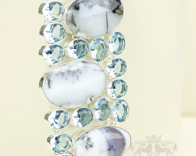 WOW Factor! Dendritic Dendrite Agate MERLINITE Aquamarine 925 S0LID Sterling Silver Bracelet & FREE Worldwide Express Shipping B1726