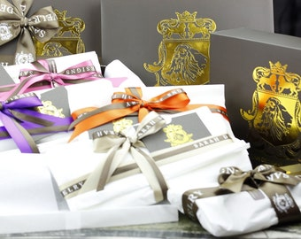 Order with your purchase!  Luxury Gift Wrapping with  Silver Foil Lion Insignia and Silver Polishing Cloth Included.