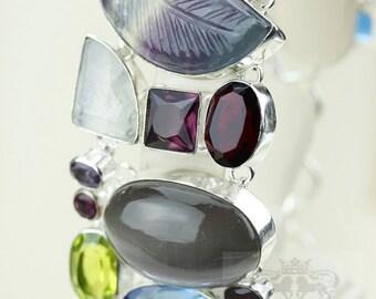 Trendiness in the Season! Cat's Eye Quartz Mother of Pearl Fluorite topaz 925 S0LID Sterling Silver Bracelet & FREE Worldwide Shipping B1898
