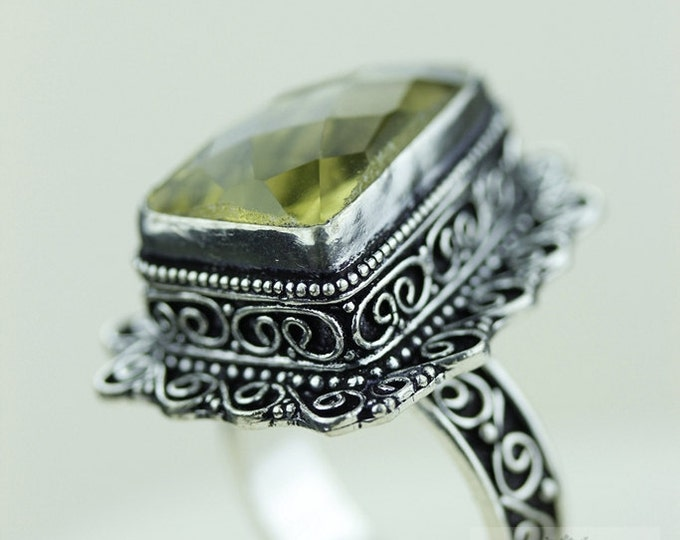 Size 8.5 Citrine 925 S0LID (Nickel Free) Sterling Silver Vintage Setting Ring  r1835
