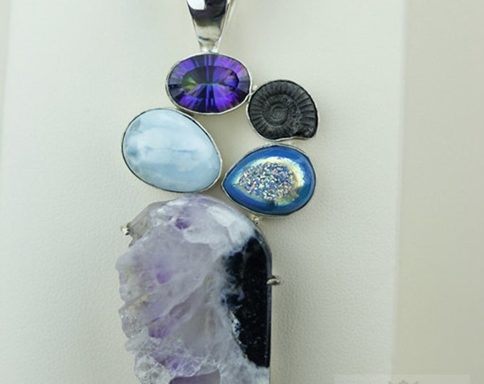 AMETHYST STALACTITE LARIMAR Ammonite Drusy 925 S0LID Sterling Silver Pendant + 4mm Snake Chain & Free Worldwide Shipping mp318
