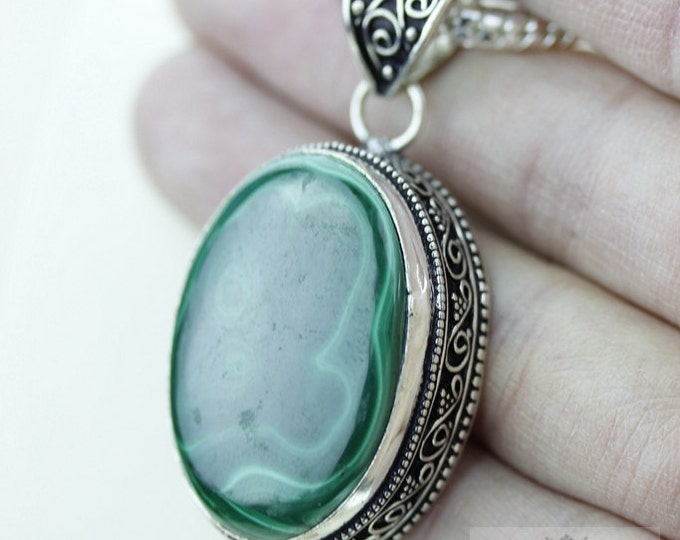 Greenish Hue! MALACHITE 925 S0LID Sterling Silver Vintage Style Setting Pendant + 4mm Snake Chain & Free Worldwide Shipping p2552