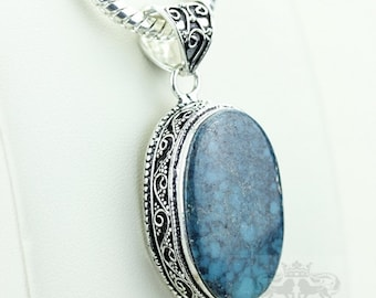 Turquoise Vintage Filigree Setting 925 S0LID Sterling Silver Pendant + 4mm Snake Chain p2887