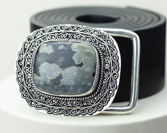 RAINFOREST Jasper RHYOLITE Vintage Filigree Antique 925 Fine S0LID Sterling Silver + Copper BELT Buckle T12