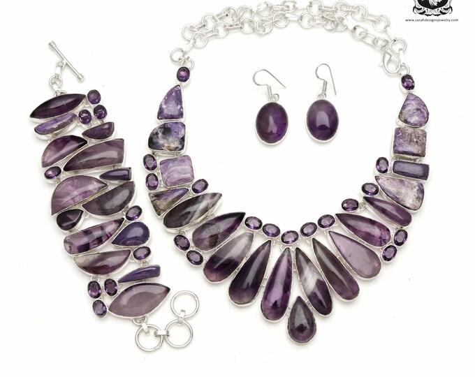 Inner Desires! CHEVRON AMETHYST 925 Sterling Silver + Copper Bonded Necklace Bracelet & Earrings ALL Included SET573
