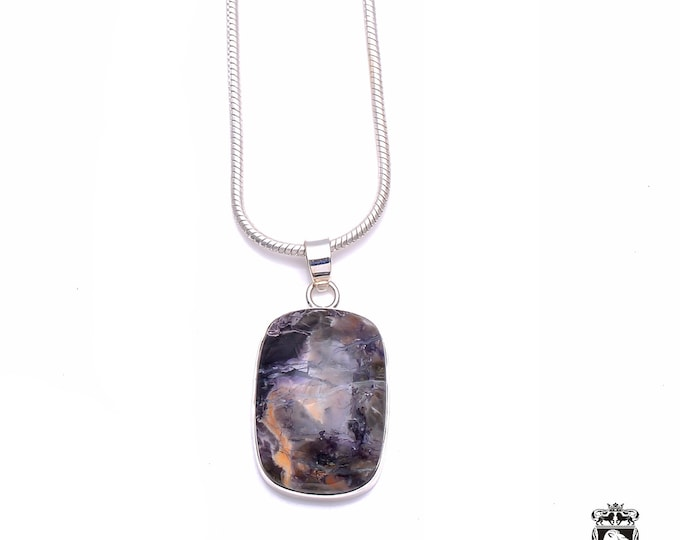 CANADIAN SODALITE Fine 925+ 975 S0LID Sterling Silver Pendant + Snake Chain P6367