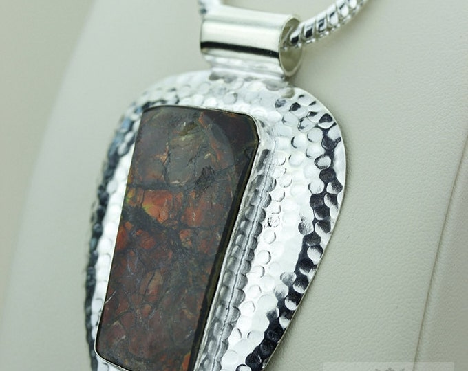 Reduced! GENUINE Canadian AMMOLITE 925 S0LID Sterling Silver Pendant + 4MM Snake Chain & FREE Worldwide Express Shipping A2
