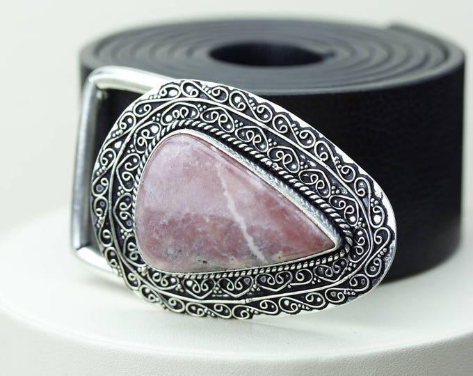 Genuine Canadian RHODONITE Vintage Filigree Antique 925 Fine S0LID Sterling Silver + Copper BELT Buckle T22